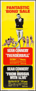 "Movie Posters:James Bond, Thunderball/From Russia with Love Combo (United Artists, R-1968). Insert (14"" X 36""). James Bond.. ..."