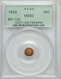 California Fractional Gold: , 1853 25C Liberty Octagonal 25 Cents, BG-102, Low R.4, MS63 PCGS.PCGS Population (38/21). NGC Census: (11/10). ...