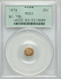 California Fractional Gold: , 1874 25C Indian Octagonal 25 Cents, BG-795, R.3, MS63 PCGS. PCGSPopulation (51/94). NGC Census: (6/11). ...