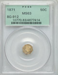 California Fractional Gold: , 1871 50C Liberty Octagonal 50 Cents, BG-912, R.3, MS63 PCGS. PCGSPopulation (49/43). NGC Census: (11/10). ...