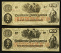 "Confederate Notes:1862 Issues, T41 $100 1862 Misplaced ""T"" Notes.. ... (Total: 2 notes)"