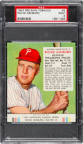 Baseball Cards:Singles (1950-1959), 1953 Red Man Richie Ashburn #3 PSA Mint 9 - Pop Two, NoneHigher!...