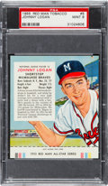 Baseball Cards:Singles (1950-1959), 1955 Red Man Johnny Logan #5 PSA Mint 9. Graded