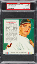 Baseball Cards:Singles (1950-1959), 1955 Red Man Don Mueller #8 PSA Mint 9 - Pop Two, None Higher! ...