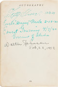 Baseball Collectibles:Others, 1939-42 Walter Johnson & Lefty Grove Signed Book....