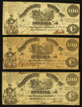 Confederate Notes:1861 Issues, T13 $100 1861 Trio.. ... (Total: 3 notes)