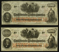 Confederate Notes:1862 Issues, T41 $100 1862 PF-26 Cr. UNL Two Examples.. ... (Total: 2 notes)
