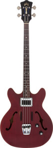 Musical Instruments:Bass Guitars, 1966 Guild Starfire Cherry Electric Bass Guitar, Serial # BA652....
