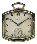 Timepieces:Pocket (post 1900), Gruen Rare Ultra-Verithin Deco Enamel & Gold Pocket Watch. ...