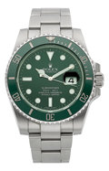 Timepieces:Wristwatch, Rolex Ref. 11610 LV, Green Oyster Perpetual Date Submariner, circa 2010. ...