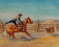 Paintings, Olaf Wieghorst (American, 1899-1988). Contest Ropping. Oil on canvas. 16 x 20 inches (40.6 x 50.8 cm). Signed lower left...