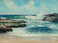 Jack Wilkinson Smith (American, 1873-1949) Crashing Waves Oil on canvas 18 x 24 inches (45.7 x 61