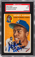 Autographs:Sports Cards, Signed 1954 Topps Hank Aaron #128 Rookie Card. ...