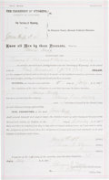 Autographs:Celebrities, Johnson County War: An 1889 Surety Bond for James Huff, Signed byAndrew S. Brown, a Prominent Figure in the War....