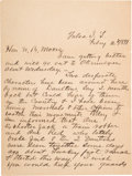 Miscellaneous:Ephemera, The Principal Chief of the Creek Indian Nation Writes from IndianTerritory to Warn of Activity by the Notorious Dalton Gang....