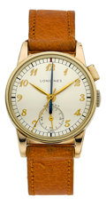 Timepieces:Wristwatch, Longines One Button Flyback Chronograph With Center MinuteRecording Hand, circa 1947. ...