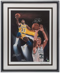 Basketball Collectibles:Others, Magic Johnson and Larry Bird Multi Signed Lithograph....