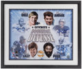 Football Collectibles:Photos, Doomsday Defense Multi Signed Oversized Print....