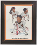 Baseball Collectibles:Others, Willie Mays, Barry Bonds and Bobby Bonds Multi SignedLithograph....