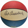 Basketball Collectibles:Balls, Red Auerbach and John Wooden Multi Signed Basketball....