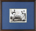 Autographs:Photos, Roger Maris Signed Photograph. Roger Maris is pictured here showing off his swing to an audience of a little leaguer and th...