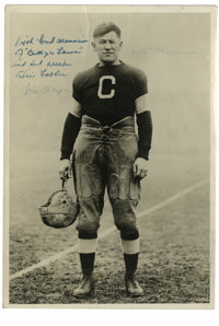 """Jim Thorpe Signed Photograph. Truly a rarity, this 7x10"""" black and white image features Jim Thorpe, arguably the fi..."""