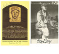 Autographs:Post Cards, Carl Hubbell and Max Carey Signed Postcards. This pair of Hall ofFamers have each signed a postcard bearing their image, w...