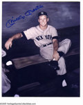 """Autographs:Photos, Mickey Mantle Signed Photograph. Classic 8x10"""" image of a boyishMick is signed in perfect blue sharpie. LOA from PSA/DNA..."""