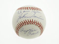 Baseball Collectibles:Others, Warren Spahn & Johnny Sain Signed Baseball. Blue sweet spotsignatures from each are in perfect ink, as is the inscription ...