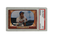 1955 Bowman Hank Aaron #179 PSA NM 7. From the famed T.V. set, Hank Aaron's card is featured here, displaying nicely in...