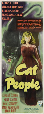 """Cat People (RKO, 1942). Insert (14"""" X 36""""). This was the picture that launched an entire sub-catagory in the h..."""
