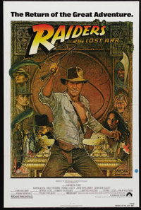 """Raiders of the Lost Ark (Paramount, R-1982). One Sheet (27"""" X 41""""). Beautiful Richard Amsel art (totally diffe..."""
