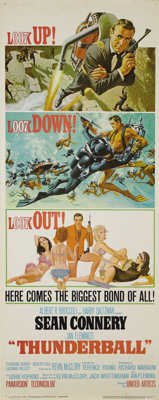 """Thunderball (United Artists, 1965). Insert (14"""" X 36"""") Style D. This rolled style """"D"""" insert is stun..."""