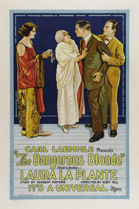 """The Dangerous Blonde (Universal, 1924). One Sheet (27"""" X 41""""). This upbeat comedy was Laura La Plante's second..."""