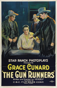 "The Gun Runners (C.B.C. Film Sales, 1920s). One Sheet (27"" X 41""). Grace Cunard directed this silent Western..."