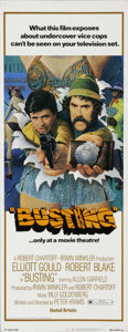 """Movie Posters:Crime, Busting (United Artists, 1974). Insert (14"""" X 36""""). Elliott Gould and Robert Blake star in this buddy cop drama. Rolled inse..."""