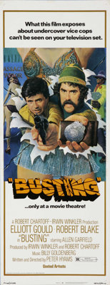 "Busting (United Artists, 1974). Insert (14"" X 36""). Elliott Gould and Robert Blake star in this buddy cop dram..."