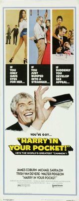 "Harry in Your Pocket (United Artists, 1973). Insert (14"" X 36""). James Coburn is a talented pickpocket who use..."