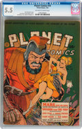 Golden Age (1938-1955):Science Fiction, Planet Comics #16 (Fiction House, 1942) CGC FN- 5.5 Off-white towhite pages....