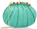 "Luxury Accessories:Accessories, Judith Leiber Green Python Evening Bag. Good to Very GoodCondition. 8"" Width x 6"" Height x 1.5"" Depth. ..."