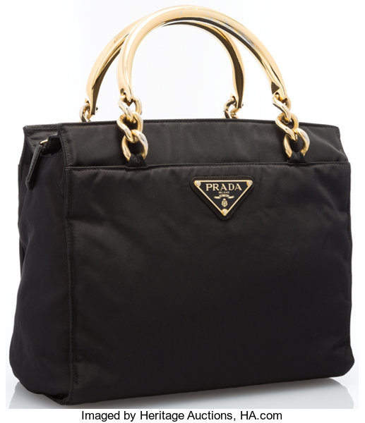 fec1bf6f79cd Luxury Accessories:Accessories, Prada Black Tessuto Canvas Tote Bag with Gold  Chain Handles.