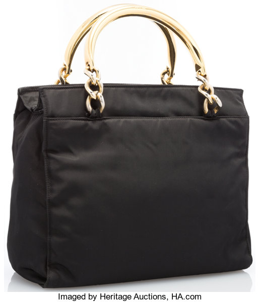 f69a96b3bdf1 Prada Black Tessuto Canvas Tote Bag with Gold Chain Handles. Good | Lot  #20048 | Heritage Auctions