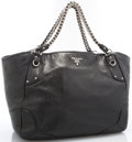 "Art Glass:Daum, Prada Black Leather Oversized Tote with Silver Hardware.Excellent Condition. 15"" Width x 12"" Height x 8"" Depth..."