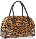 "Art Glass:Daum, Alaia Leopard Print Ponyhair Studded Shoulder Bag . ExcellentCondition. 14"" Width x 9"" Height x 5.5"" Depth. ..."