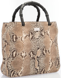 """Gucci Natural Python & Black Bamboo Tote Bag Excellent Condition 10"""" Width x 9"""" Height x 3"""" Depth"""