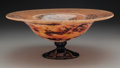 Art Glass:Schneider, Schneider Mottled Glass Footed Bowl. Early 20th century. Wheelcarved SCHNEIDER, FRANCE. Ht. 4-3/4 x Di. 12 in....