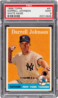 Baseball Cards:Singles (1950-1959), 1958 Topps Darrell Johnson White Name #61 PSA Mint 9 - Pop Three,None Higher!...