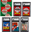 Baseball Cards:Unopened Packs/Display Boxes, 1951 - 1977 Topps & O-Pee-Chee Unopened Wax Packs & WrapperCollection (6). ...