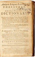 Books:Reference & Bibliography, [Dictionary]. Thomas Richards. Antiquæ Linguæ Brittanicæ Thesaurus: Being a British, or Welsh-English Dictionary... ...
