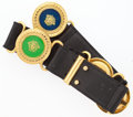 "Luxury Accessories:Accessories, Versace Black Leather & Enamel Medallion Belt with GoldHardware. Very Good to Excellent Condition. 4.5"" Width x 1.5""Heig..."